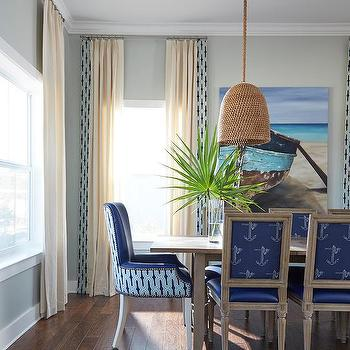 Blue Anchor Print Dining Chairs