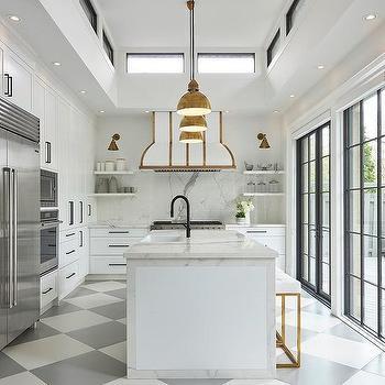 Wood Top Kitchen Peninsula With Gray Glass Globe Light
