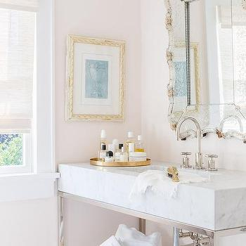 Pale pink bath walls design ideas alyssa rosenheck pale pink bathroom with marble sink vanity aloadofball Image collections