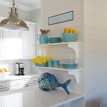 Stacked White Shelves On Light Gray Shiplap Wall