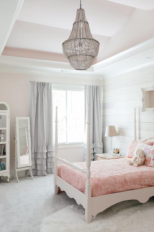 Girl Bedroom With Pale Pink Painted Ceiling Transitional
