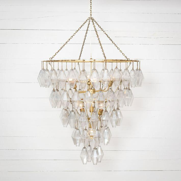 Round grand waterfall gold crystals chandelier aloadofball Gallery