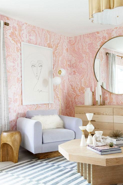 Pink Agate Wallpaper with Round BRass Mirror - Contemporary - Bedroom