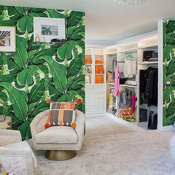 Palm Print Dressing Room Wallpaper Design Ideas