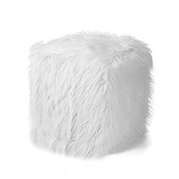 Faux Fur White Shag Ottoman Footstool Cube Sheepskin