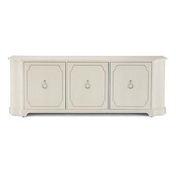 Quatrefoil Ivory Mirrored Wood Buffet