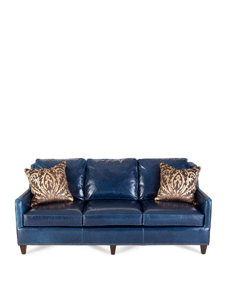 Manning Navy Leather Nailhead Trim Sofa