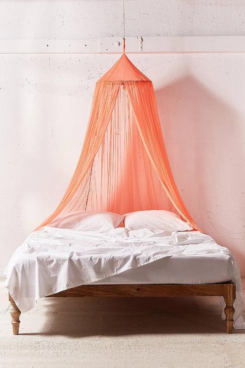 Mesh Peach Sheer Bed Canopy