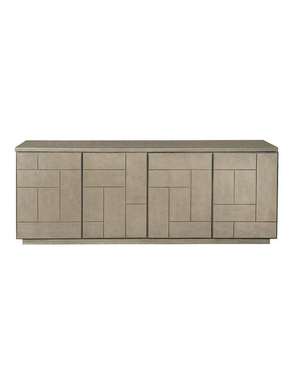 Bernhardt Aletha Faux Shagreen Entertainment Console