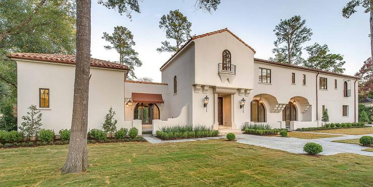 2 Story White Arched Mediterranean House with Courtyard