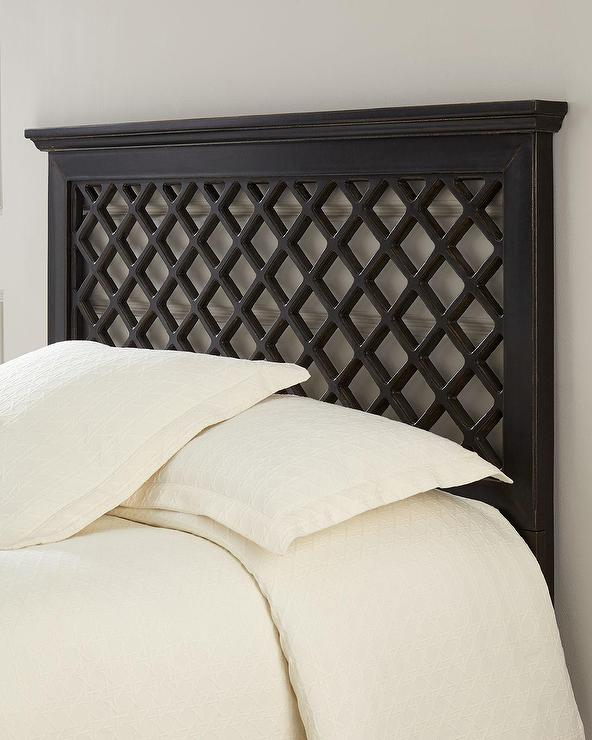 Wooden Headboards Part - 50: Jantzen Trellis Rubbed Black Wooden Headboard