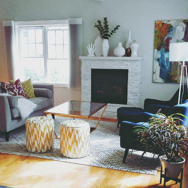 Contemporary Yellow Accent White Living Room