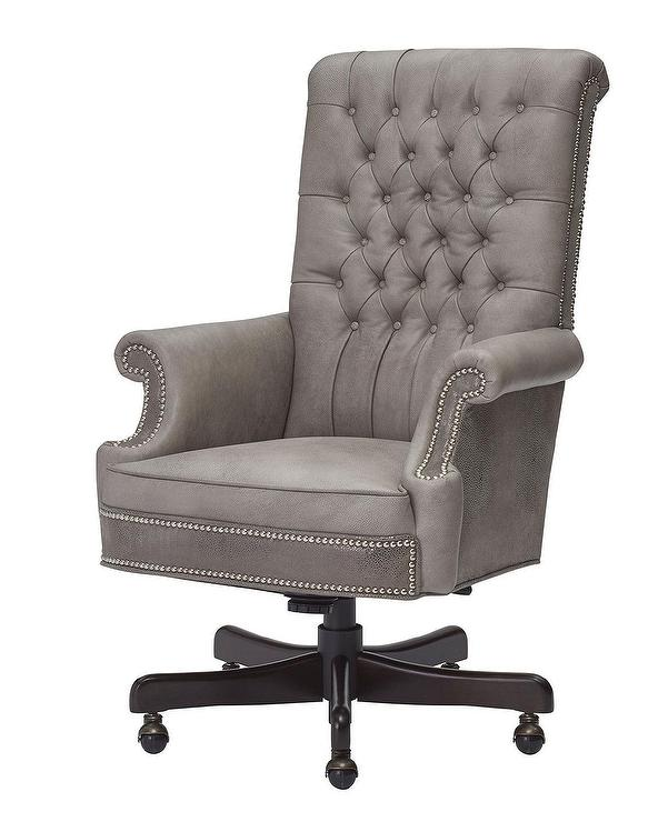 Gray Velvet Button Tufted Chair