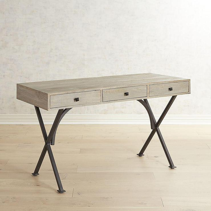 Metro Gray Wood X Shape Iron Desk