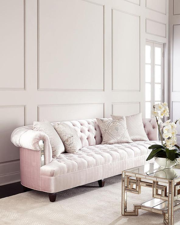 Mia Blush Velvet Mirrored Tufted Sofa