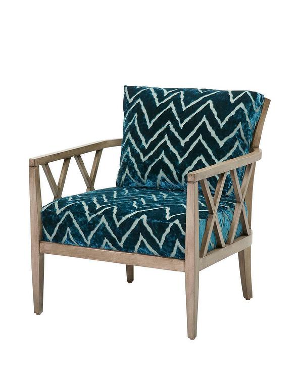 moberly blue chevron tie dye wooden chair