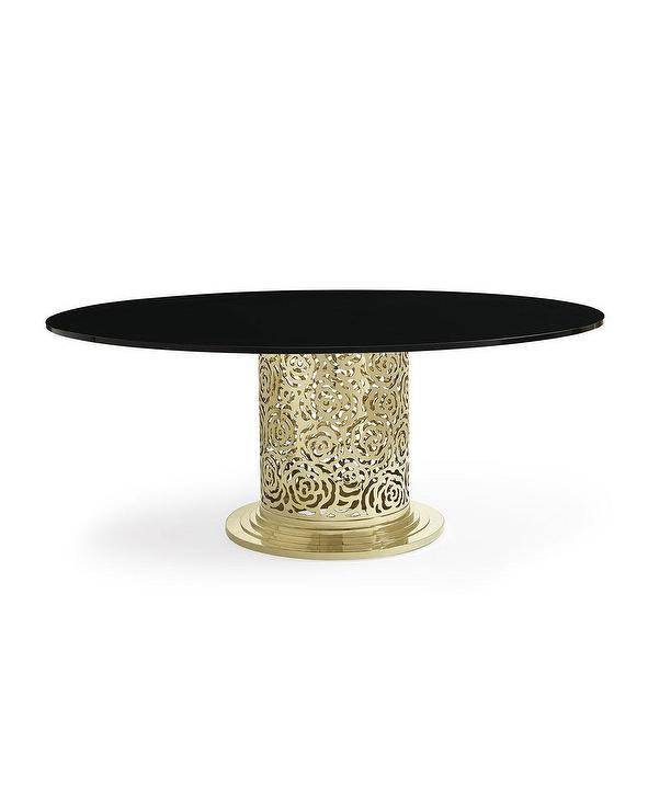 Round Golden Rose Black Dining Table