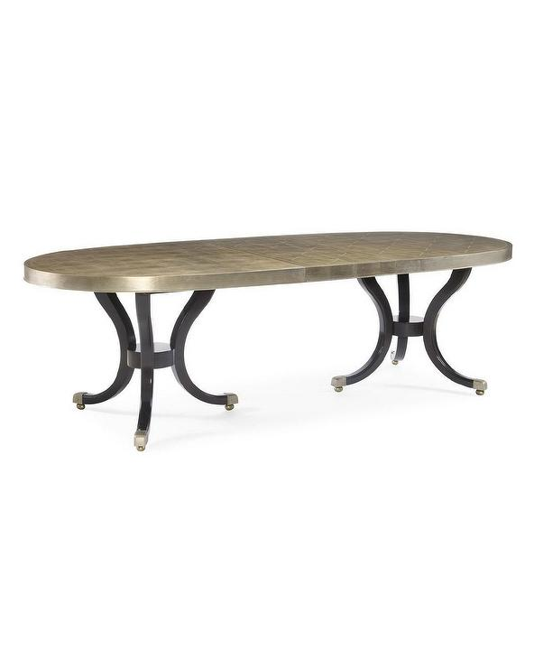 Sasha Oval Silver Double Pedestal Dining Table - Black oval pedestal dining table