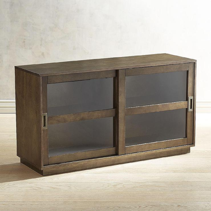 Sienna Wood Sliding Doors Glass Cabinet