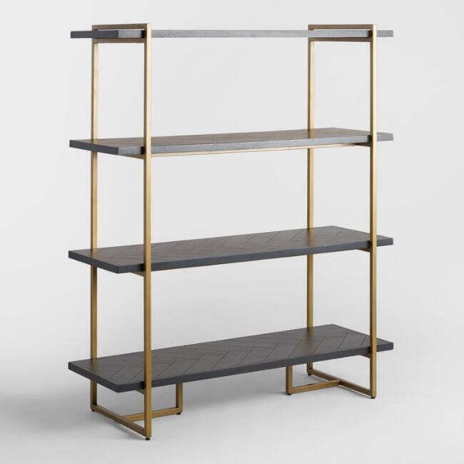 Wayde Herringbone Wood Brass Bookshelf