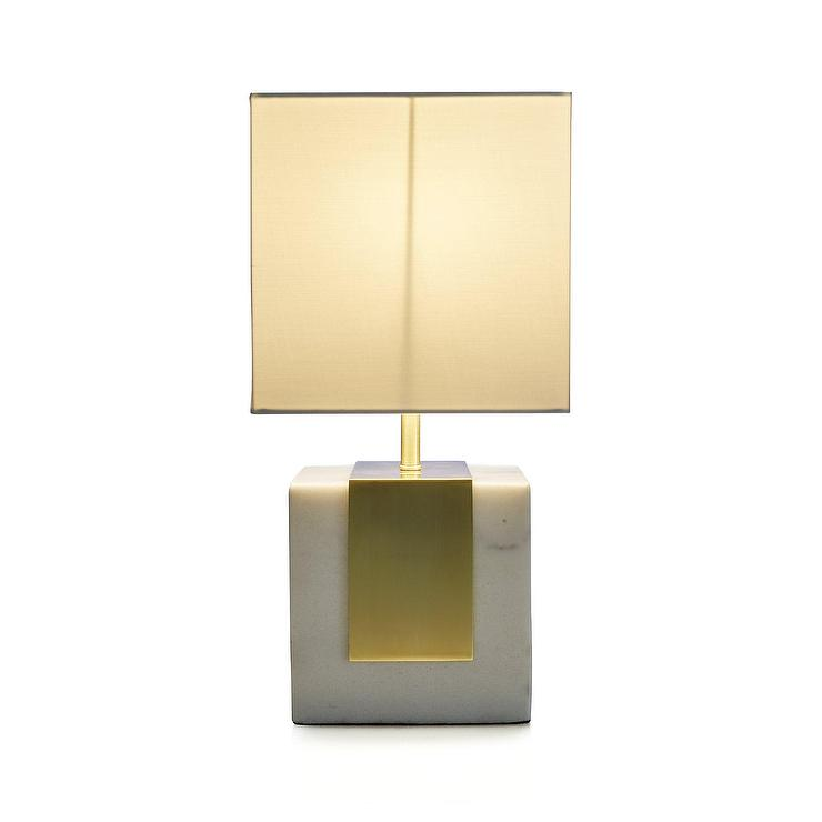 Division Marble Brass Accent Table Lamp