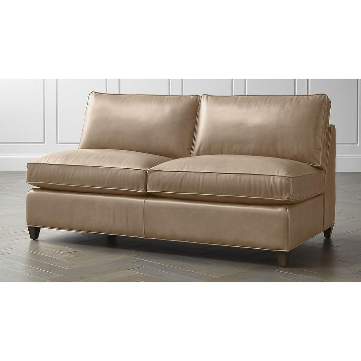 Pleasing Dryden Beige Leather Armless Loveseat Onthecornerstone Fun Painted Chair Ideas Images Onthecornerstoneorg
