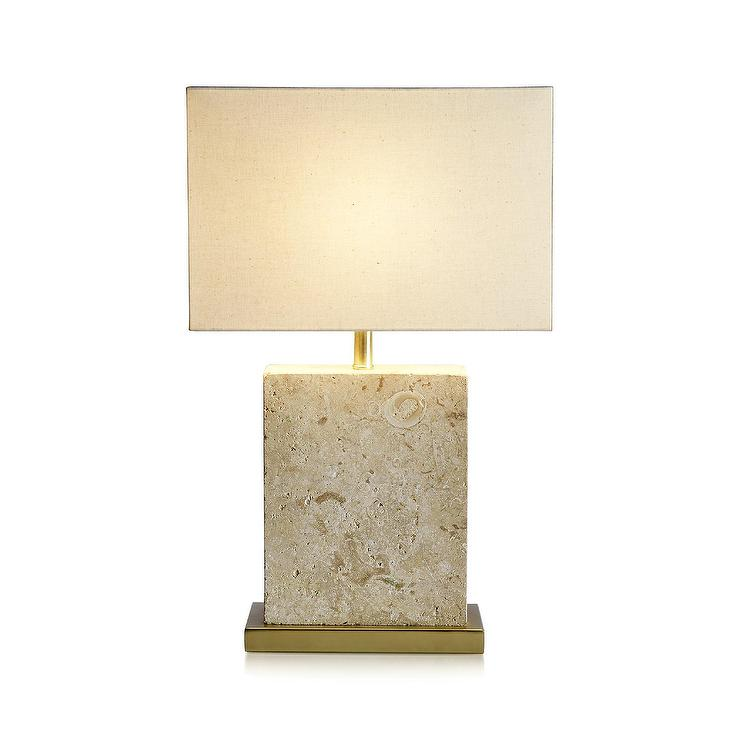 Mactan Stone Block Brass Table Lamp