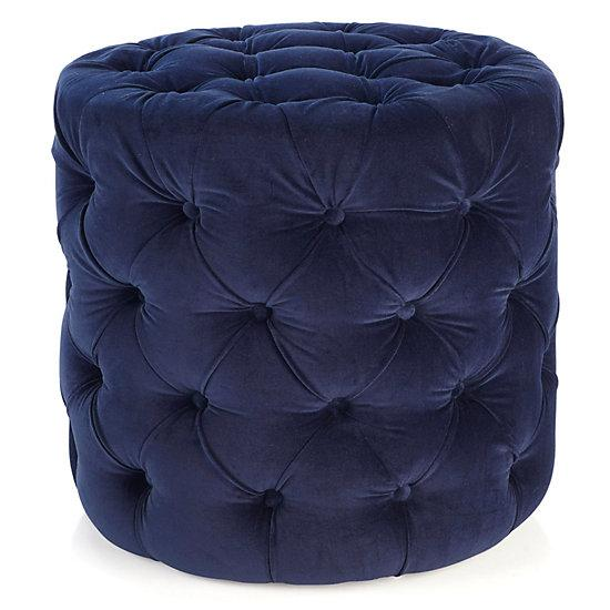 Prime Jules Navy Velvet Tufted Ottoman Stool Caraccident5 Cool Chair Designs And Ideas Caraccident5Info