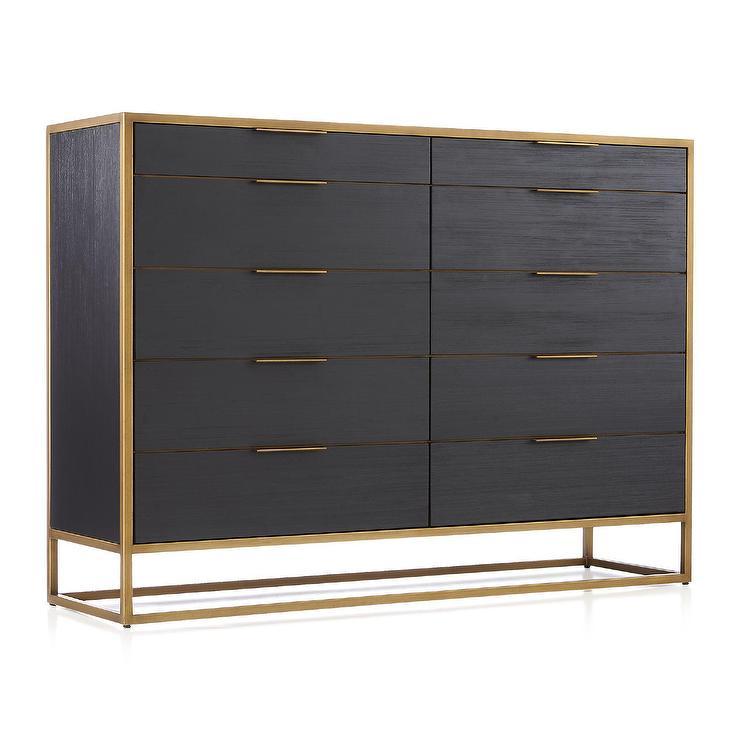 Oxford 10 Drawer Black Wood Brass Tall Dresser