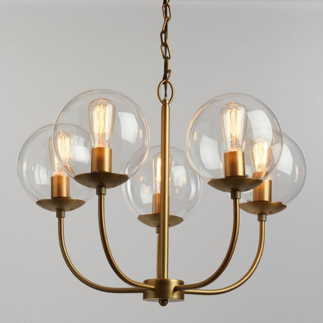 Small Glass Globe Brass 3 Light Chandelier