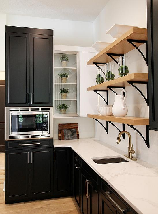Bon Black Pantry Cabinets With Iron And Blond Wood Shelves