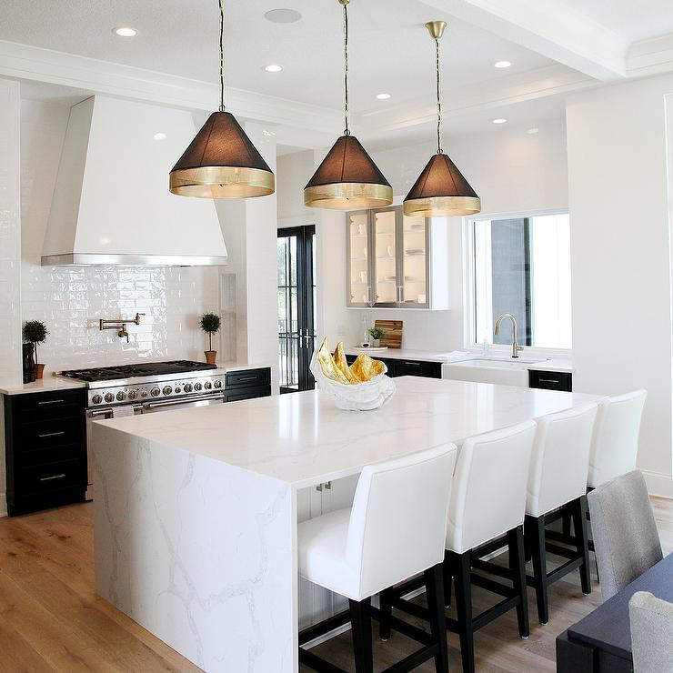 Light Gray Beadboard Center Island With Casper Barstools
