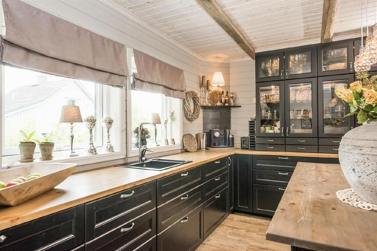 Country Style Black Cabinets Wooden Countertop Kitchen