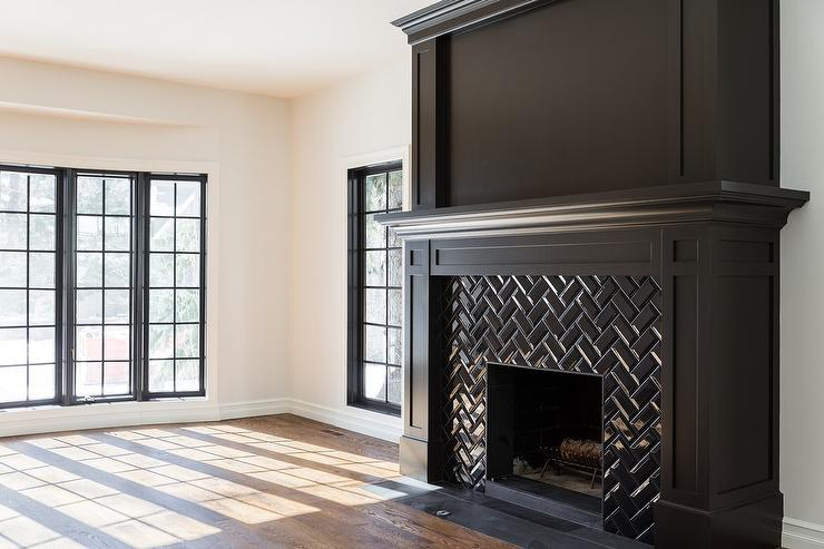 black herringbone fireplace mantel tiles - Black Fireplace Mantels