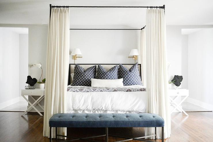 Iron Canopy bed with Ivory Bed Curtains & Iron Canopy bed with Ivory Bed Curtains - Transitional - Bedroom