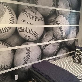 Black And White Baseball Mural On Accent Wall
