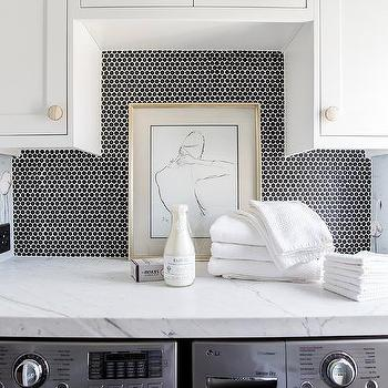 Black Hexagon Tiles with Seeded Glass Cabinetry