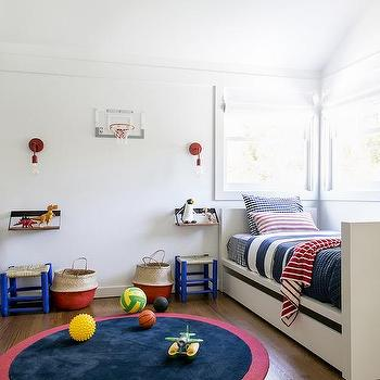 Great Red And Navy Bedding On White Twin Beds With Trundles
