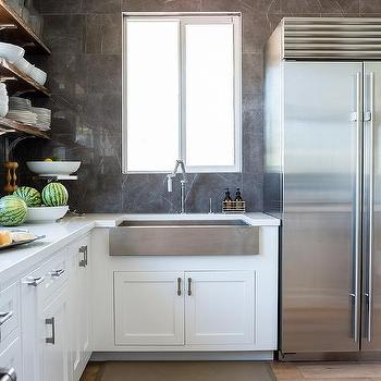 wide and shallow stainless steel apron sink