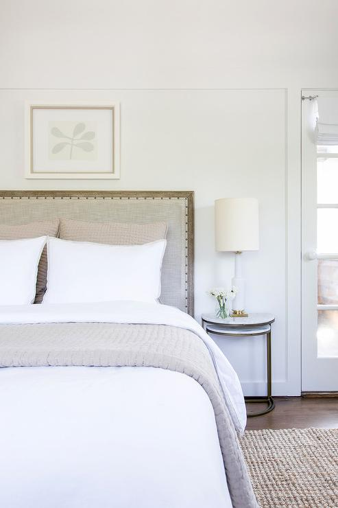 Restorationhardware Bedding Part - 19: Restoration Hardware Maison Upholstered Bed brings a classic French feel to  a white cottage bedroom.