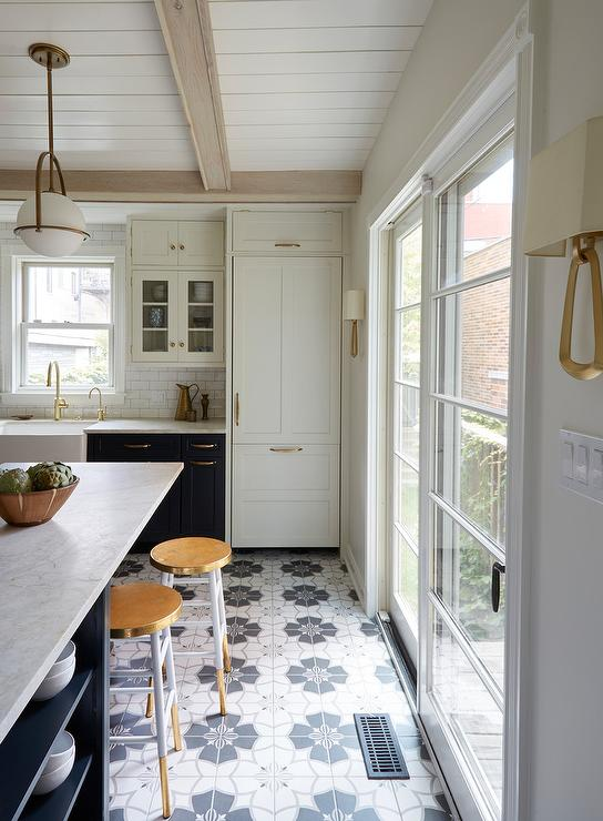 Navy Kitchen Island With White Counter Stools Transitional Kitchen Sherwin Williams Cyberspace