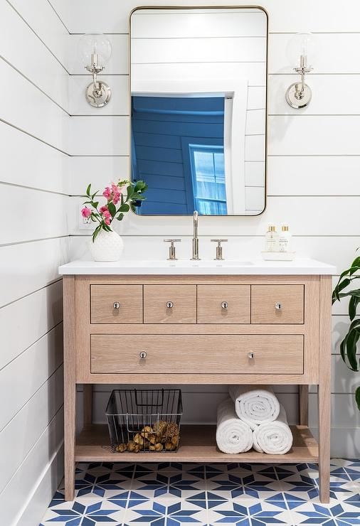 Blue Shiplap Powder Room Walls Design Ideas