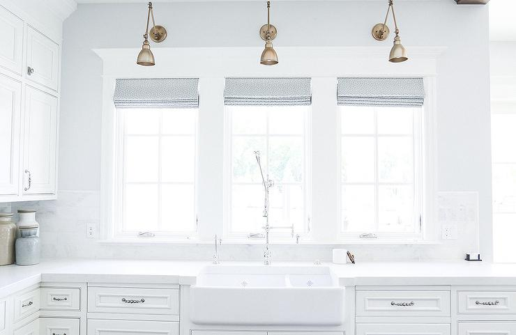 Dual Apron Sink With Gold Gooseneck Faucet Transitional