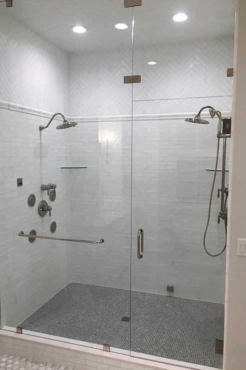 Shower Heads Facing Each Other - Transitional - Bathroom