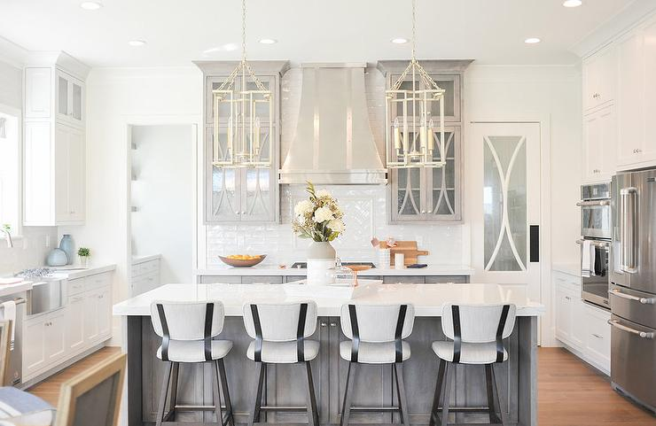 Light Gray Cabinets With Seeded Glass Doors Transitional Kitchen