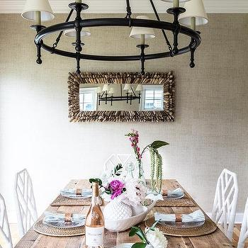 Bronze Classic Ring Chandelier Over Wood Dining Table