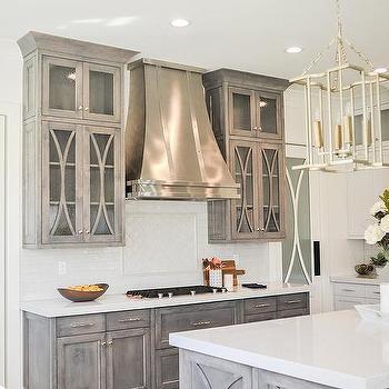 Silver Leaf Lanterns Over Gray Wash Wood Island & Glass Mullion Pantry Door Design Ideas