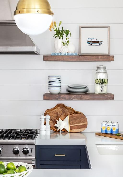 Dark Stained Wooden Cooktop Shelves On Shiplap Wall