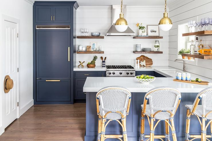 Blue Subway Tiles Contemporary Kitchen Anne Chessin