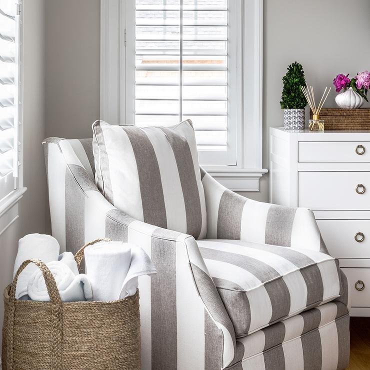 Miraculous Gray Striped Accent Chair In Corner Of Bedroom Caraccident5 Cool Chair Designs And Ideas Caraccident5Info